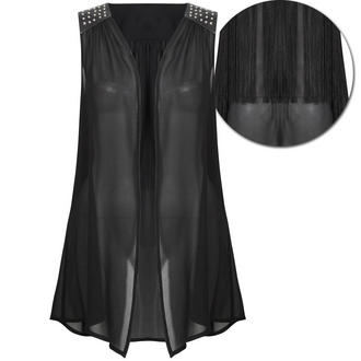 View Item Tassel Back Waistcoat with Studded PU Leather Shoulder Detail